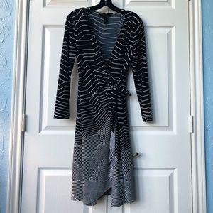 BCBGMaxAzria Dresses - Sophisticated Black & White Wrap Dress